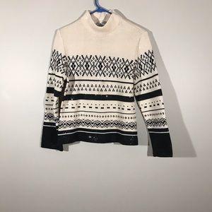 St John Knit Santana Sweater Paillettes Mock Neck